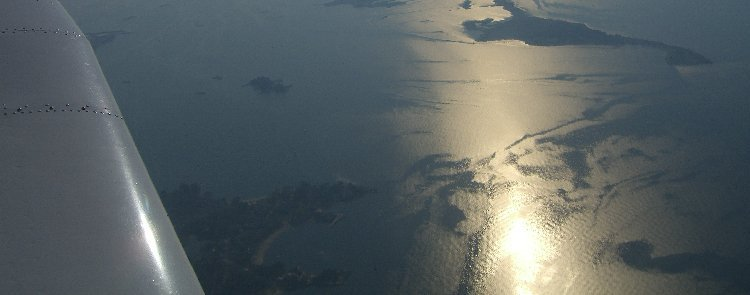 Flying over the Long Island Sound